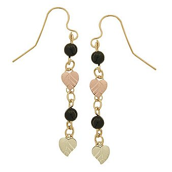Black Hills Gold Earrings Faceted Round Black Onyx