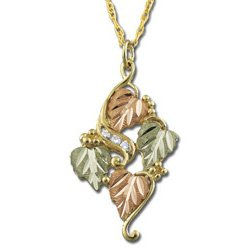 Black Hills Gold 4 Leaf 3 Diamond .06 TDW Necklace