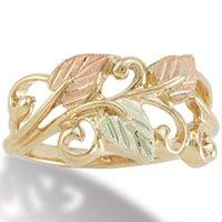 Black Hills Gold 3 Leaves And Vines Ladies Ring