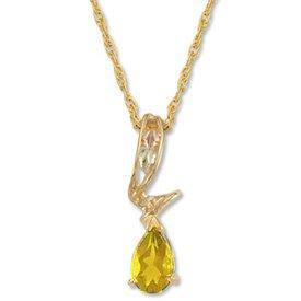 Black Hills Gold Leaves Swirl Citrine Necklace