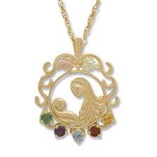 Black Hills Gold Necklace  Mother's Love 5 Genuine Birthstones All Months