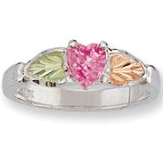 Black Hills Gold Pink Cubic Zirconia Sterling Silver Ladies Ring