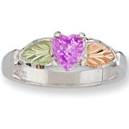 Black Hills Gold Lavender Cubic Zirconia Sterling Silver Ladies Ring