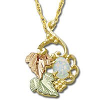 Black Hills Gold Leaves Lab Created Opal Necklace