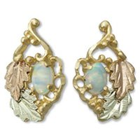 Black Hills Gold Leaves & Lab Created Opal Earrings