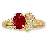 Black Hills Gold Genuine Garnet Ladies Ring