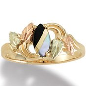 Black Hills Gold Black Onyx Mother Of Pearl Ladies Ring