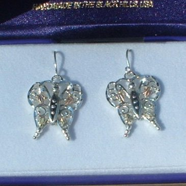 Black Hills Gold & Sterling Silver Butterfly Earrings