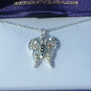 Black Hills Gold & Sterling Silver Butterfly Necklace