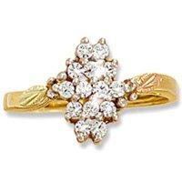 Black Hills Gold Diamond Cluster Ladies Ring .28 TDW