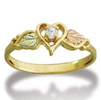 Black Hills Gold .05 Diamond In Heart Ladies Ring