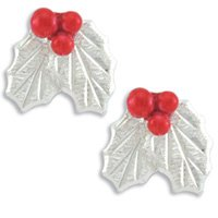 Christmas Holly Sterling Silver Earrings Landstrom's Black Hills Gold