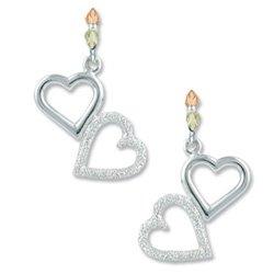 Black Hills Gold On Sterling Silver Hearts Earrings
