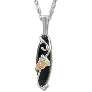 Black Hills Gold Faceted Black Onyx Sterling Silver Necklace