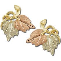 Black Hills Gold 2 Leaves Grapevines Post Earrings