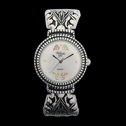 Black Hills Gold Watch Ladies Antiqued Quartz Sterling Silver