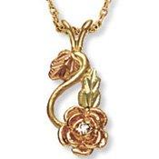 Black Hills Gold .02 Diamond Single Rose Necklace