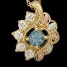 Black Hills Gold Necklace Blue Topaz & White Zircon