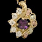 Black Hills Gold Necklace Amethyst & White Zircon