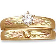 Black Hills Gold Diamond Wedding Set .20 TDW