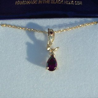 Black Hills Gold Leaves Swirl Amethyst Necklace