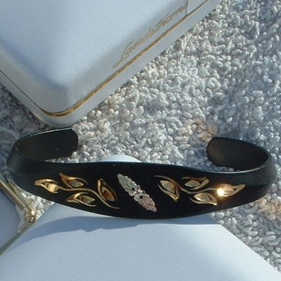 Black Hills Gold Rosebud Black Enamel Cuff Bracelet