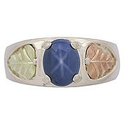 Black Hills Gold Ring Mens Synthetic Star Sapphire Silver
