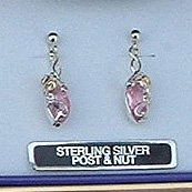 Black Hills Gold Synthetic Rose Zircon Sterling Silver Earrings