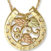Black Hills Gold Leaves & Grapes Horseshoe Necklace