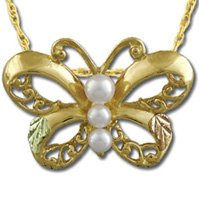 Black Hills Gold Butterfly 3 White Cultured Pearls Necklace