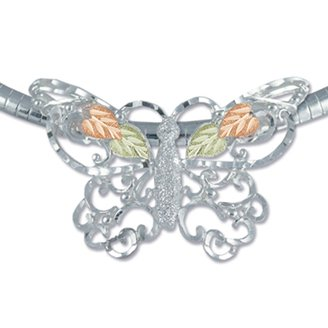 Black Hills Gold On Sterling Silver Butterfly Brooch Necklace