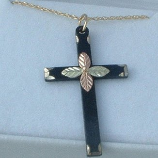 Black Hills Gold Necklace 4 Leaf Cross Black Powder