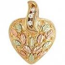 Black Hills Gold Necklace 3 Diamonds Heart .09 TDW