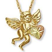 Black Hills Gold 10K Cherub & Heart Necklace