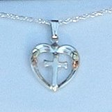 Black Hills Gold & Sterling Silver Heart Cross Necklace