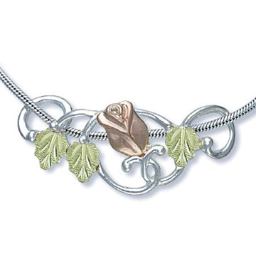 Black Hills Gold Rose & Leaves Sterling Silver Slider Necklace