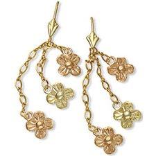 Black Hills Gold Dangling Daisies Leverback Earrings