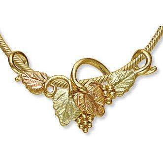 Black Hills Gold 4 Leaves & Grapes Slider Necklace