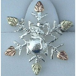 Black Hills Gold Snowflake & Snowman Sterling Silver Brooch