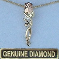 Black Hills Gold Diamond & Rose Necklace