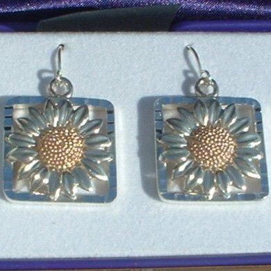Black Hills Gold Sterling Silver Sunflower Earrings