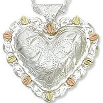 Black Hills Gold On Sterling Silver Heart Necklace