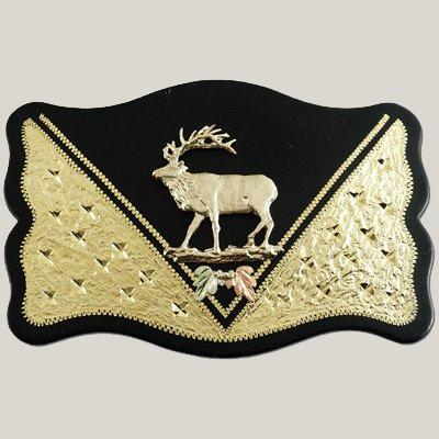 Black Hills Gold Elk Buck Rectangular Belt Buckle