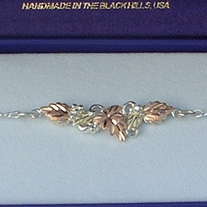 Black Hills Gold 4 Leaves On Sterling Silver Link Bracelet