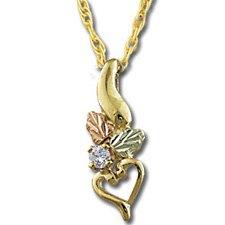Black Hills Gold Diamond Heart & Leaves Necklace