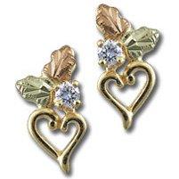 Black Hills Gold Diamond Heart & Leaves Post Earrings