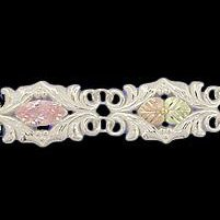 "Black Hills Gold Bracelet Pink CZ Sterling Silver 7"" Long"