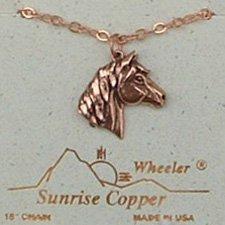 Sunrise Copper Necklace Horse Pendant