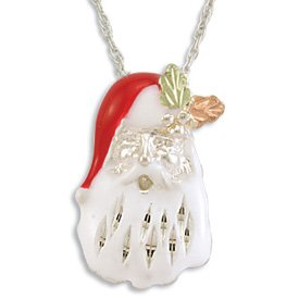 NEW Black Hills Gold On Silver Santa Clause Head Necklace