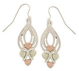 Black Hills Gold Earrings Leaf Fancy Sterling Silver Dangle